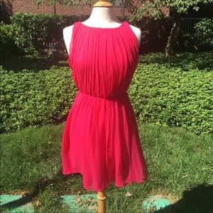 Alice + Olivia Red Silk Pleated Tank Dress